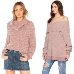 NWT Free People By Your Side Mauve Knit Sweater